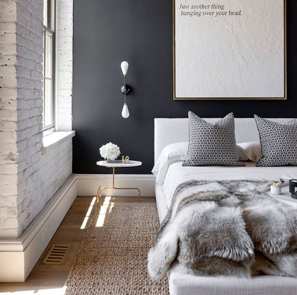 Sassy bedroom with black wall
