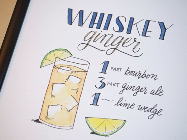 Whiskey Ginger Cocktail Recipe Print of Original Handlettered Watercolor Art